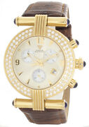 Aqua Master Womens Chrono Gold-tone Dial Brown Leather Band Watch W94_23_5