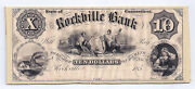 185x The Rockville Bank Ct. - Ten Dollar Proof Note Mounted On Card Stock