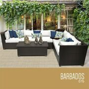 Tk Classicss Barbados 7-piece Patio Wicker Sectional Set 07b In White