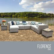 Tk Classics Florence 9-piece Patio Wicker Sectional Set 09c In White