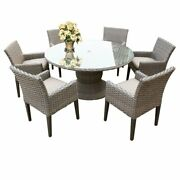 Oasis 60 Round Glass Top Patio Dining Table With 6 Dining Chairs In Beige