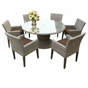Oasis 60 Round Glass Top Patio Dining Table With 6 Dining Chairs In Cocoa