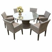 Oasis 60 Round Glass Top Patio Dining Table With 6 Dining Chairs In Wheat