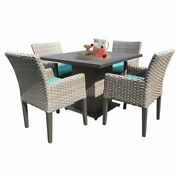 Tk Classics Oasis Square Patio Dining Table With 4 Dining Chairs In Aruba