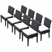Tkc Venice Patio Dining Side Chair In White Set Of 8
