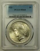 1923 Peace Silver Dollar 1 Coin Pcgs Ms-64 Better Gem In Our Opinion B 18