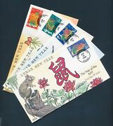 3997a-l 2006 Chinese New Year Fdc H.painted Collins Cachet Set 12 Diff Bu2908