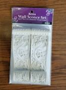 Resin Wall Sconce Set - Fits 1 To 1 3/8 Poles Whitewash Finish