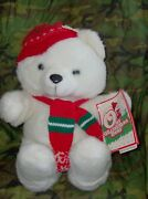 Kmart 1986 Teddy Bear Christmas Holiday White Red Hat And Scarf 18 Vintage Tags