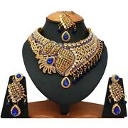Indian Bollywood Style Fashion Gold Plated Bridal Jewelry Necklace Set, Rns 022