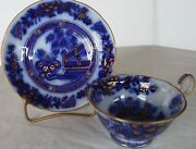Oriental Pattern Flow Blue Cup And Saucer, Gold Accents- Samuel Alcock