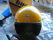 Nos Vintage Buco Large Yellow Open Face 5 Snap Poly Motorcycle Helmet 1828-3