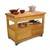 Pemberly Row Grand Butcher Block Island Workcenter In Natural
