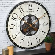 Wall Clock 27 In. Multi-color Oversized Carlisle Gears Wood Frame Rustic Style