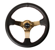 Nrg 350mm Deep Red Stitch Leather Steering Wheel Gold 3 Spoke Center Rst-036cg