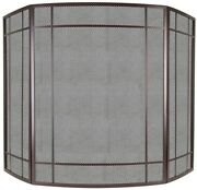 Fireplace Screen 41 In. L X 0.79 In. W X 30 In. H 3-panel Steel In Wenge Brown