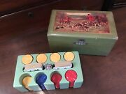 Rare Vintage Red, Blue And Butterscotch Bakelite Poker Chips In Wooden Box No Res