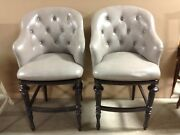 2 Frontgate Boswell Pewter Leather Barstool Bar 30 Wood Counter Kitchen Stool