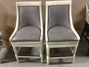 2 Frontgate Kent Barstool Bar Seat Wood Kitchen Counter 24 Gray Leather Fabric