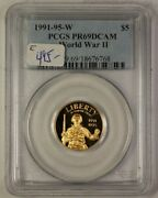 1991-95 W World War Ii Wwii Commemorative Gold Coin 5 Pcgs Pf-69 Proof Dcam