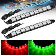 2 Pcs Red Green Navigation 9led Marine Bow Boat 12v Yacht Pontoon Bright Lights