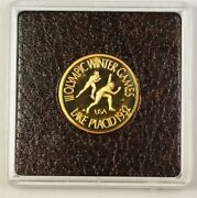 1980 Privately Minted Proof Gold Coin Speed Skating Medallion 1/2 Ounce Of Gold