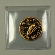 1980 Privately Minted Proof Gold Coin Ski Jump Medallion 1/2 Ounce Of Gold