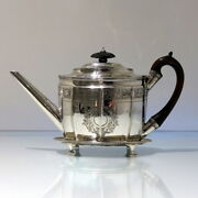 18th Century Antique George Iii Sterling Silver Teapot On Stand London 1799
