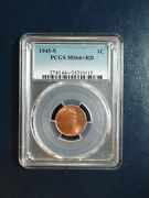 1945 S Lincoln Wheat Cent Pcgs Ms66 Plus Red Gem 1c Penny Coin Priced To Sell