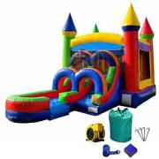 Rainbow Inflatable Bounce House Wet Dry Slide Commercial Blow Up Jump Castle