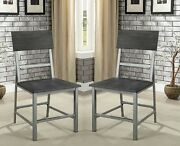 Casual Style Hand Brushed Powder Coated Seat Chairs Set Of 4pc Silver Metal Legs