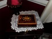 Inlay Box Musical Wooden Italy Locks W/ Org. Cert. Of Auth. Footed Neat