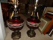 Mid Century Lamps Pair Burgundy And Hand Painted See Listing Rare Cloisonne Lamp