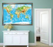 3d World Map 4 Fake Framed Poster Home Decor Print Painting Unique Art Summer
