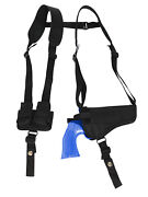 New Barsony Horizontal Shoulder Holster W/ Speed-loader Pouch For 4 Revolvers