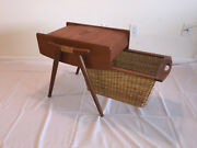 Vintage Sewing Basket + Contents Spools Of Threadsneedlestools. Pick Up Only