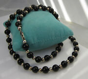 And Co Rare Vintage Sterling Silver 10mm Black Onyx Bead Chain Necklace