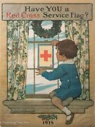 Have You A Red Cross Service Flag Antique Wwi Poster By Jesse Willcox Smith