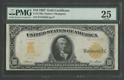 Fr1170a 10 1907 Gold Note Pmg 25 Choice Vf Napier-thompson 74 Recorded Wlm5976