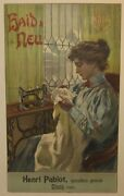 Antique Haid And Neu Sewing Machines Crocq France Store Advertising Poster - Woman