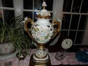Vntg. Italy Trophy Vase Mounted Tons Of Relief Flowers Mantel, Early 1900's