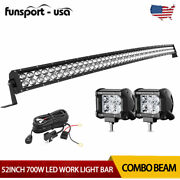 Curved 52inch Led Light Bar 700w Combo+2x 4and039and039 Pods Suv 4x4 Boat +harness Offroad