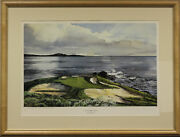 Kenneth Reed Ltd Ed And0397th Hole Pebble Beachand039 Golf Course Hand-colour Plate