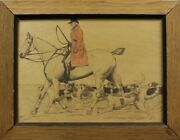 Cecil Aldin Fox-hunt For Abercrombie And Fitch Conte Crayon On Board
