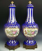 Pair Of Sevres France Hand Painted Flowers Raised Gold 17 Covered Urns Vases