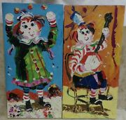 Set 2 Paul Blaine Henrie Raggedy Ann And Andy Oil Painting 20 X 10 Palette Knife
