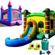 Inflatable Bounce House Combo Wet Dry Slide Pool Castle Pink Tropical Island Duo