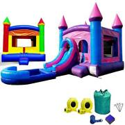 Inflatable Bounce House Combo Wet Dry Slide Pool Rainbow And Pink Jumper Duo