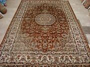 New Burnt Orange Rust Floral Area Rug Hand Knotted Wool Silk Carpet 9 X 6and039
