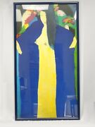Huge Walasse Ting 丁雄泉 Framed Litho Print Three Geishas With Parrot 34x61
